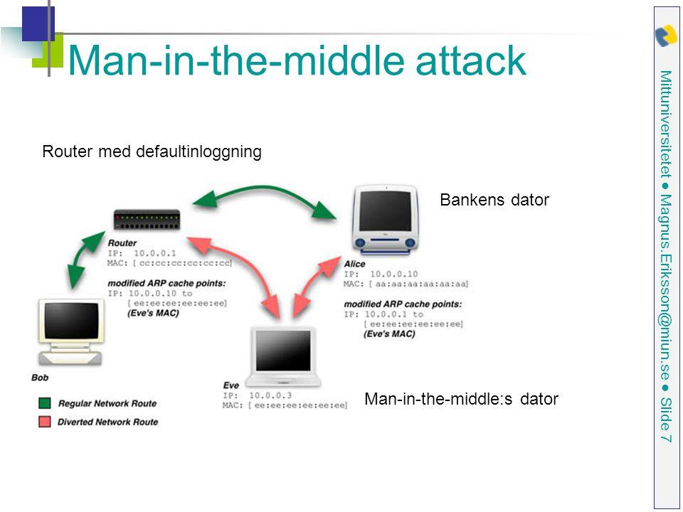 Mittuniversitetet ● Magnus.Eriksson@miun.se ● Slide 7 Man-in-the-middle attack Router med defaultinloggning Bankens dator Man-in-the-middle:s dator