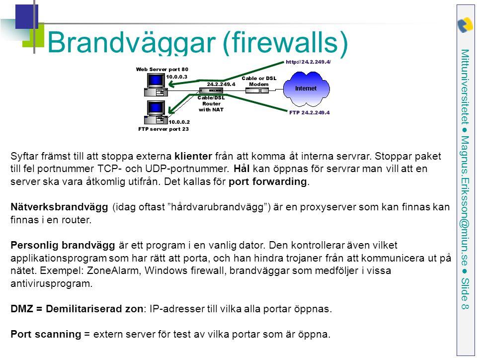 Mittuniversitetet ● Magnus.Eriksson@miun.se ● Slide 8 Brandväggar (firewalls) Syftar främst till att stoppa externa klienter från att komma åt interna servrar.