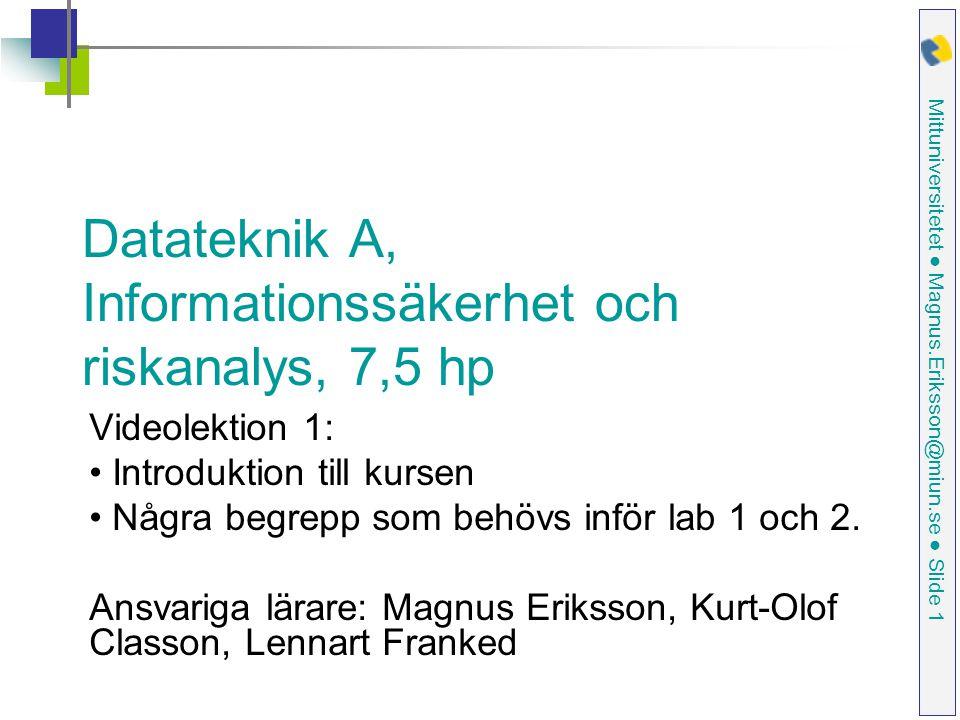 Mittuniversitetet ● Magnus.Eriksson@miun.se ● Slide 32 Man-in-the-middle attack Router med defaultinloggning Bankens dator Man-in-the-middle:s dator