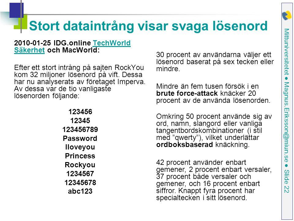 Mittuniversitetet ● Magnus.Eriksson@miun.se ● Slide 22 Stort dataintrång visar svaga lösenord 2010-01-25 IDG.online TechWorld Säkerhet och MacWorld:TechWorld Säkerhet Efter ett stort intrång på sajten RockYou kom 32 miljoner lösenord på vift.
