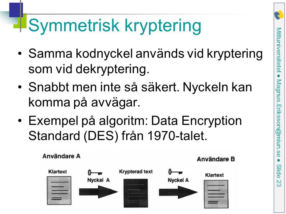 Mittuniversitetet ● Magnus.Eriksson@miun.se ● Slide 23 Symmetrisk kryptering Samma kodnyckel används vid kryptering som vid dekryptering.