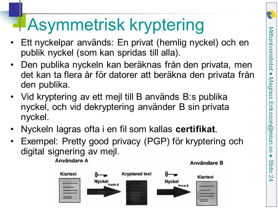 Mittuniversitetet ● Magnus.Eriksson@miun.se ● Slide 24 Asymmetrisk kryptering Ett nyckelpar används: En privat (hemlig nyckel) och en publik nyckel (som kan spridas till alla).