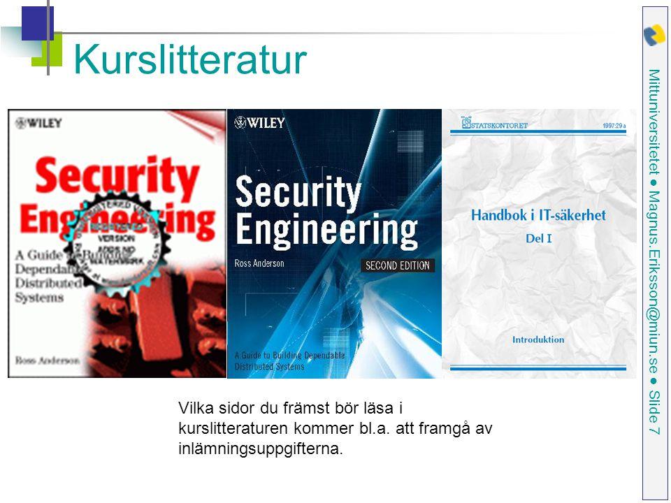 Mittuniversitetet ● Magnus.Eriksson@miun.se ● Slide 7 Kurslitteratur Vilka sidor du främst bör läsa i kurslitteraturen kommer bl.a.