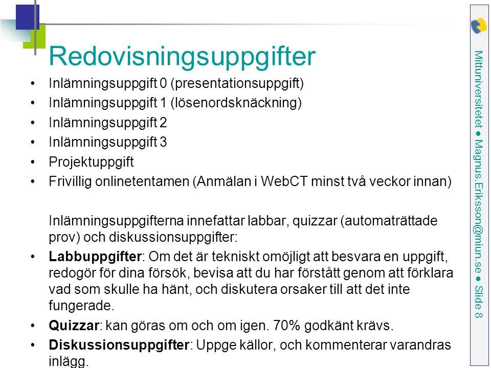 Mittuniversitetet ● Magnus.Eriksson@miun.se ● Slide 9 Tidsplan Rekommenderad tidsplan framgår av WebCT:s kalender.