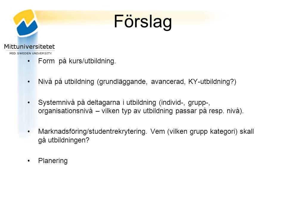 Förslag Form på kurs/utbildning.