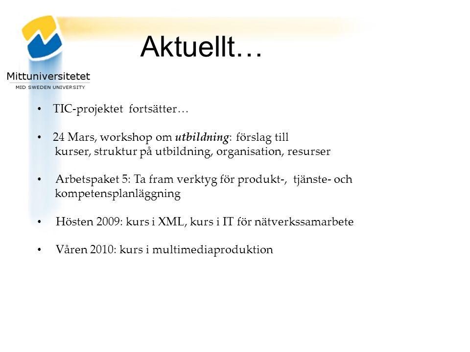 TIC-projektet fortsätter… 24 Mars, workshop om utbildning: förslag till kurser, struktur på utbildning, organisation, resurser Arbetspaket 5: Ta fram verktyg för produkt-, tjänste- och kompetensplanläggning Hösten 2009: kurs i XML, kurs i IT för nätverkssamarbete Våren 2010: kurs i multimediaproduktion Aktuellt…