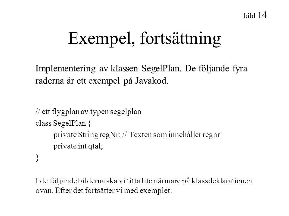 bild 14 Exempel, fortsättning Implementering av klassen SegelPlan. De följande fyra raderna är ett exempel på Javakod. // ett flygplan av typen segelp