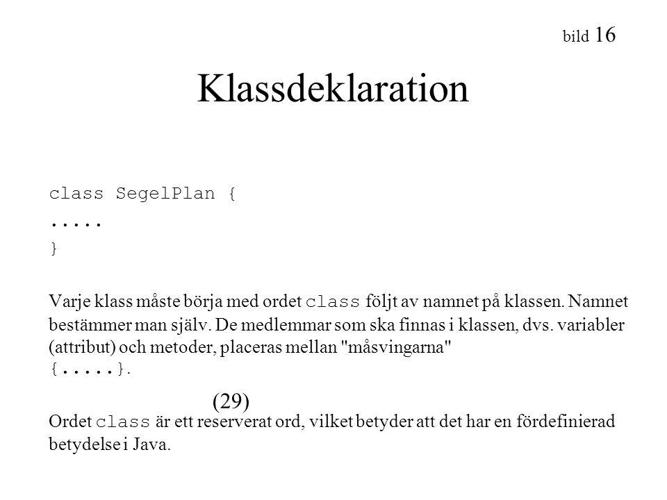 bild 16 Klassdeklaration class SegelPlan {..... } Varje klass måste börja med ordet class följt av namnet på klassen. Namnet bestämmer man själv. De m