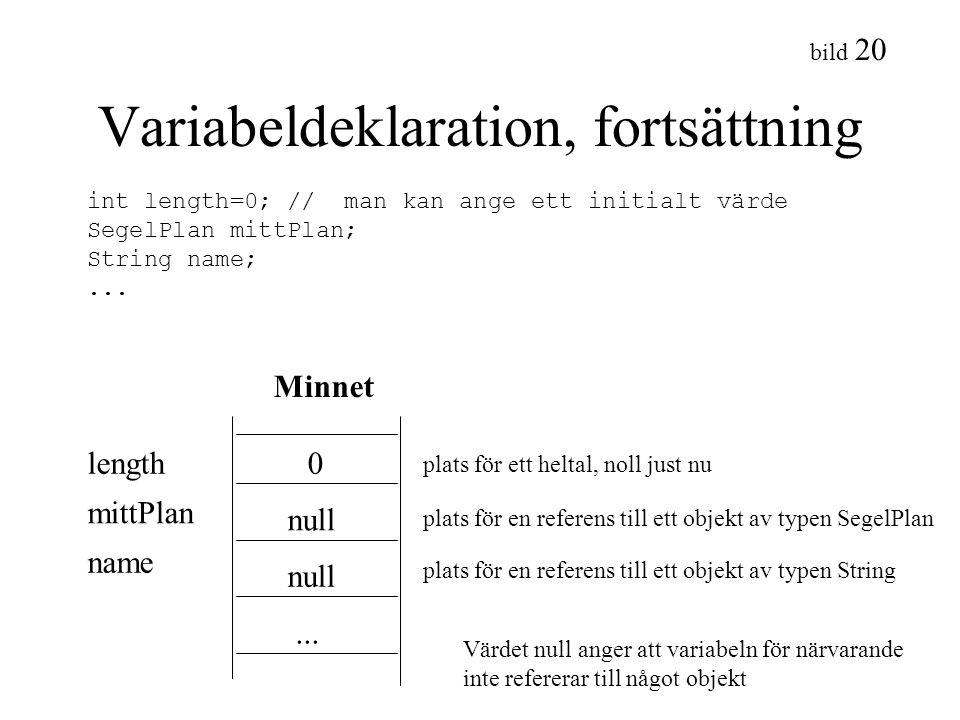 bild 20 Variabeldeklaration, fortsättning Minnet length mittPlan name 0 null... plats för ett heltal, noll just nu plats för en referens till ett obje