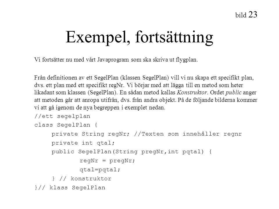 bild 23 Exempel, fortsättning Vi fortsätter nu med vårt Javaprogram som ska skriva ut flygplan. Från definitionen av ett SegelPlan (klassen SegelPlan)