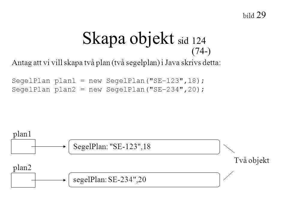 bild 29 Skapa objekt sid 124 Antag att vi vill skapa två plan (två segelplan) i Java skrivs detta: SegelPlan plan1 = new SegelPlan(