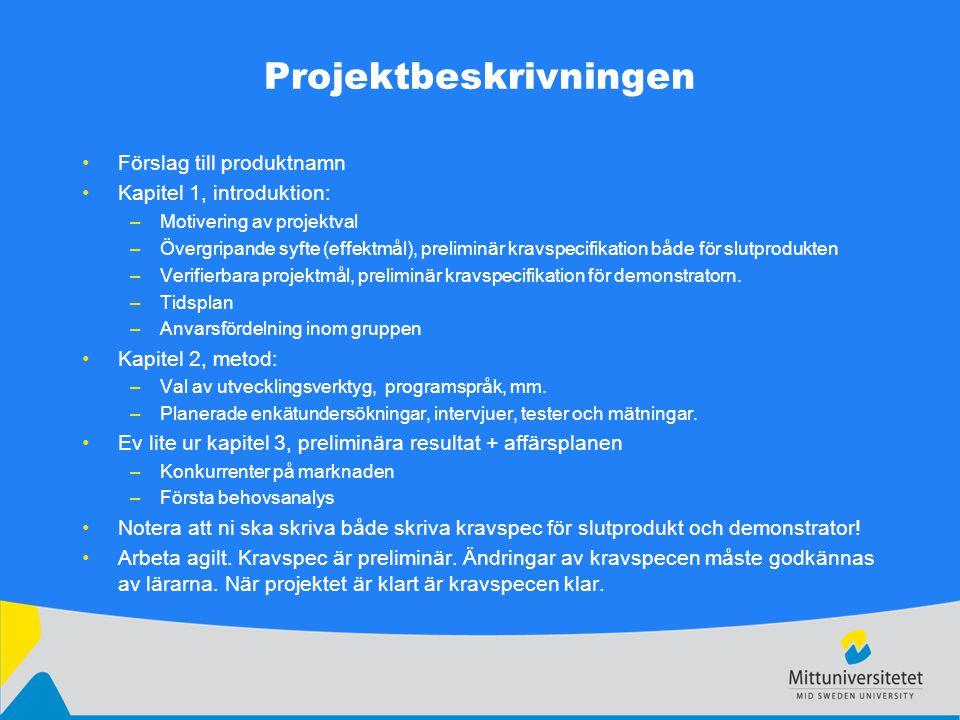 Projektbeskrivningen Förslag till produktnamn Kapitel 1, introduktion: –Motivering av projektval –Övergripande syfte (effektmål), preliminär kravspecifikation både för slutprodukten –Verifierbara projektmål, preliminär kravspecifikation för demonstratorn.
