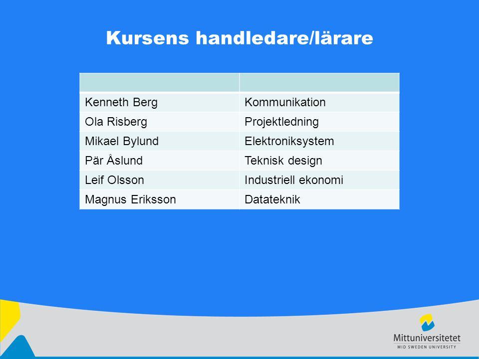 Kursens handledare/lärare Kenneth BergKommunikation Ola RisbergProjektledning Mikael BylundElektroniksystem Pär ÅslundTeknisk design Leif OlssonIndust