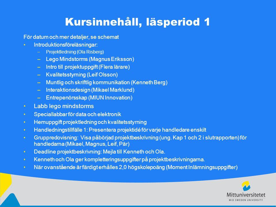 Kursinnehåll, läsperiod 1 För datum och mer detaljer, se schemat Introduktionsföreläsningar: –Projektledning (Ola Risberg) –Lego Mindstorms (Magnus Er