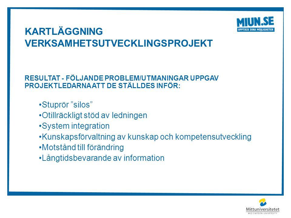 """KARTLÄGGNING VERKSAMHETSUTVECKLINGSPROJEKT RESULTAT - FÖLJANDE PROBLEM/UTMANINGAR UPPGAV PROJEKTLEDARNA ATT DE STÄLLDES INFÖR: Stuprör """"silos"""" Otillrä"""