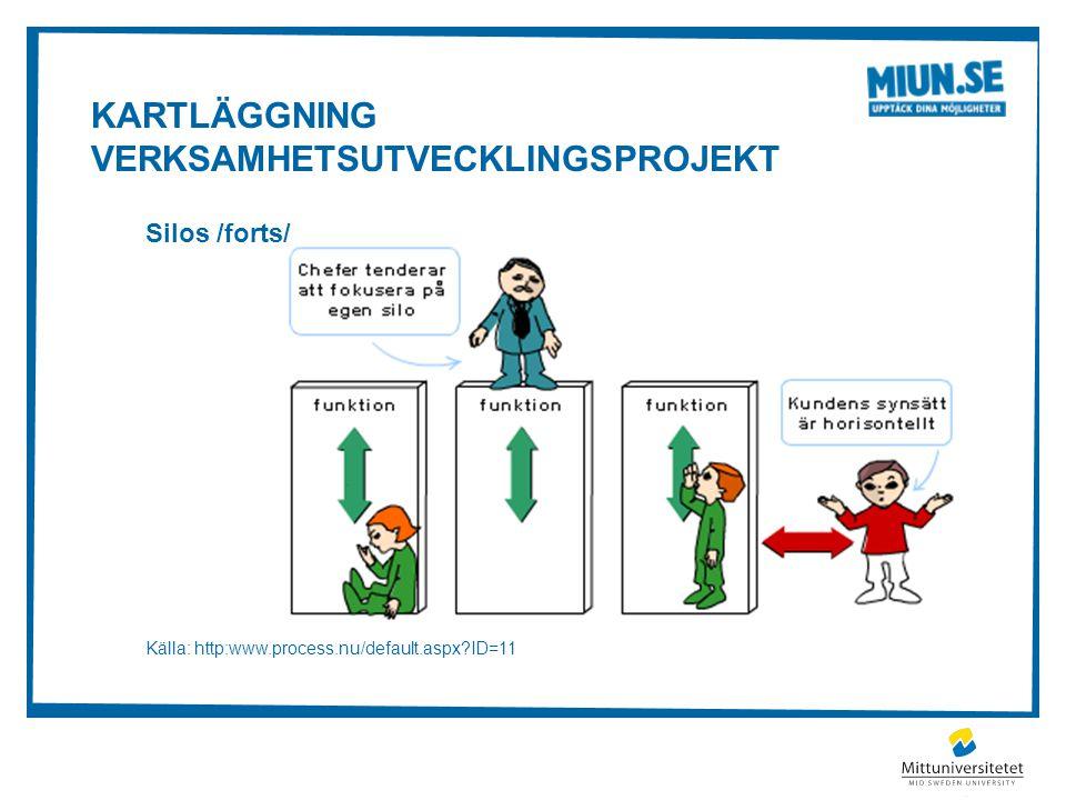 KARTLÄGGNING VERKSAMHETSUTVECKLINGSPROJEKT Silos /forts/ Källa: http:www.process.nu/default.aspx?ID=11