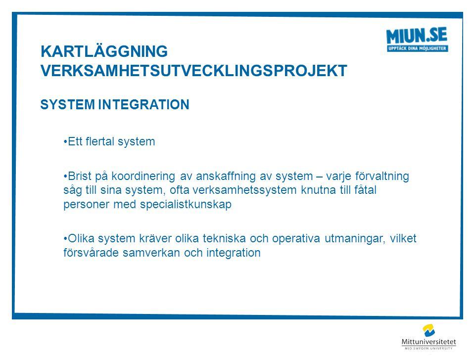 KARTLÄGGNING VERKSAMHETSUTVECKLINGSPROJEKT SYSTEM INTEGRATION Ett flertal system Brist på koordinering av anskaffning av system – varje förvaltning så