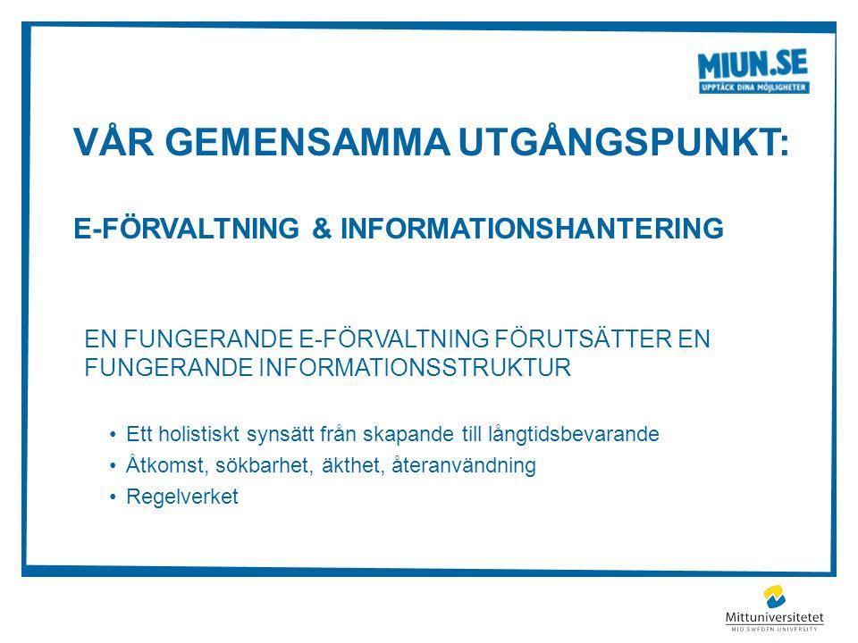 VÅR GEMENSAMMA UTGÅNGSPUNKT: E-FÖRVALTNING & INFORMATIONSHANTERING EN FUNGERANDE E-FÖRVALTNING FÖRUTSÄTTER EN FUNGERANDE INFORMATIONSSTRUKTUR Ett holi