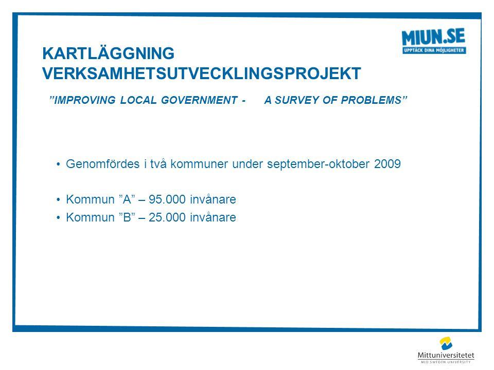 """KARTLÄGGNING VERKSAMHETSUTVECKLINGSPROJEKT """"IMPROVING LOCAL GOVERNMENT - A SURVEY OF PROBLEMS"""" Genomfördes i två kommuner under september-oktober 2009"""