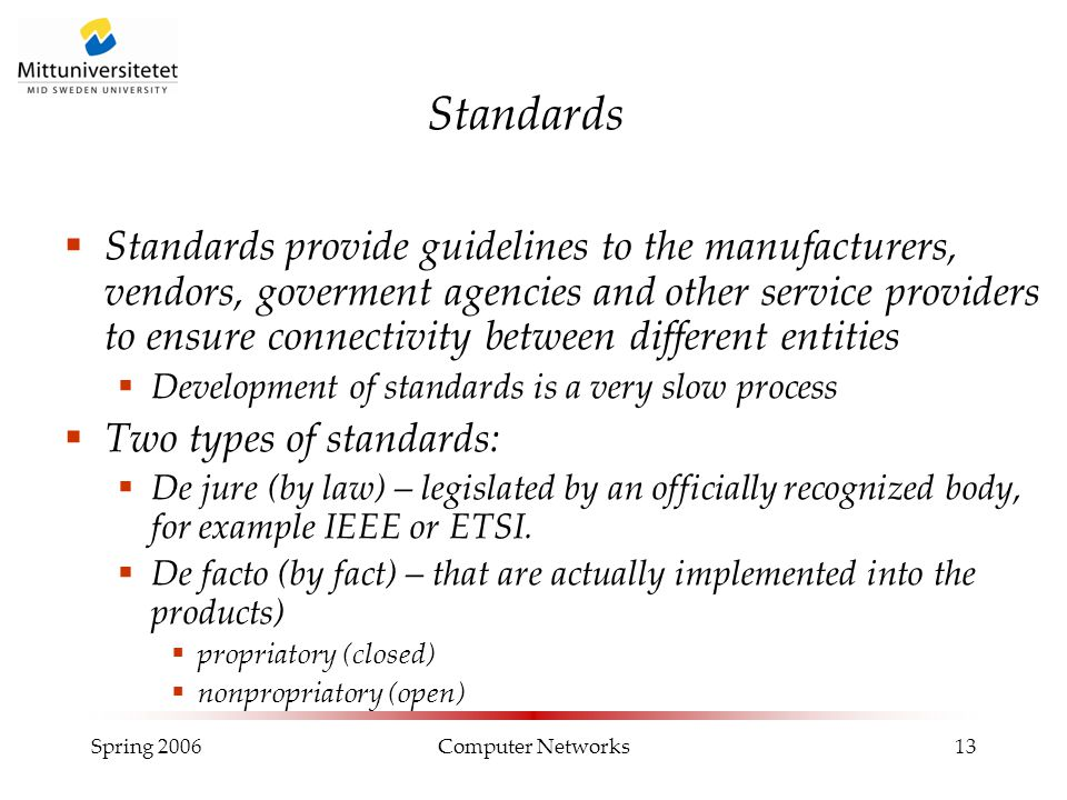 Spring 2006Computer Networks13 Standards  Standards provide guidelines to the manufacturers, vendors, goverment agencies and other service providers