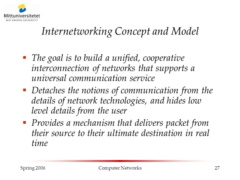 Spring 2006Computer Networks27 Internetworking Concept and Model  The goal is to build a unified, cooperative interconnection of networks that suppor