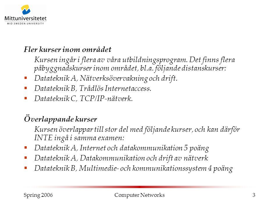 Spring 2006Computer Networks4 Kursuppläggning  Kurslitteratur: Forouzan, Data communications and networking , 3rd edition, eller senare.