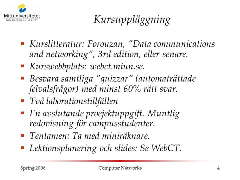 """Spring 2006Computer Networks4 Kursuppläggning  Kurslitteratur: Forouzan, """"Data communications and networking"""", 3rd edition, eller senare.  Kurswebbp"""