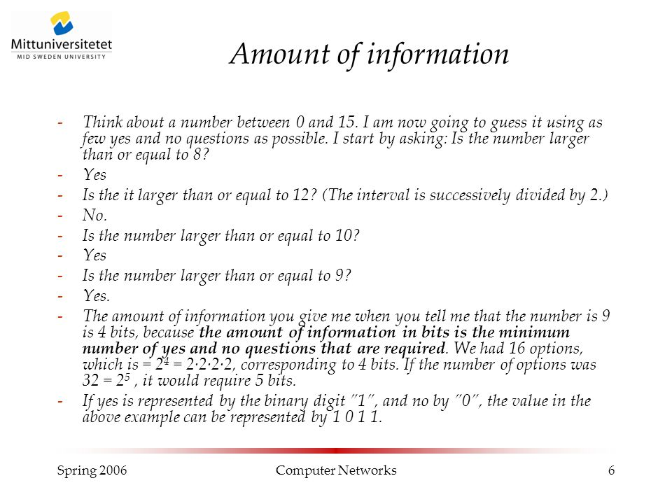 Spring 2006Computer Networks6 Amount of information -Think about a number between 0 and 15.