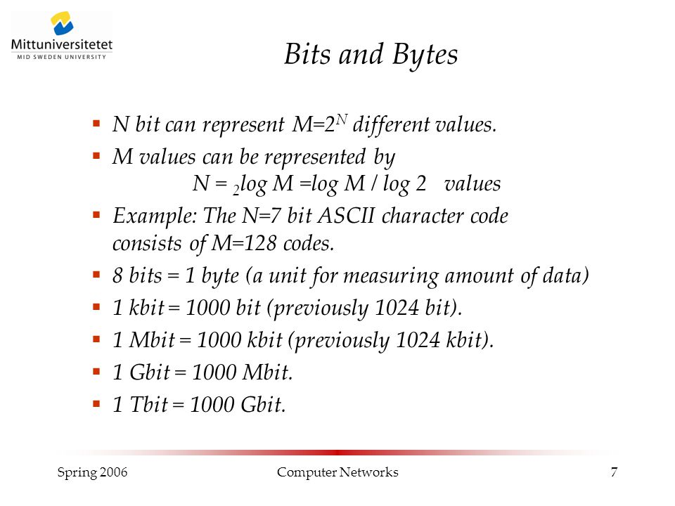 Spring 2006Computer Networks7 Bits and Bytes  N bit can represent M=2 N different values.  M values can be represented by N = 2 log M =log M / log 2