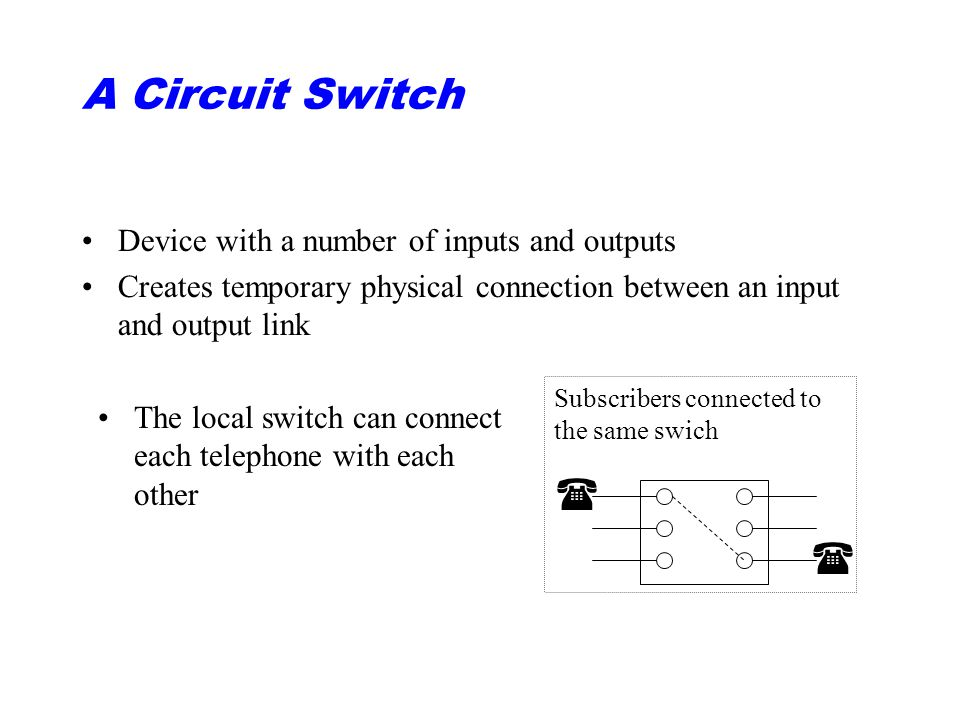 A Circuit Switch Device with a number of inputs and outputs Creates temporary physical connection between an input and output link   Subscribers connected to the same swich The local switch can connect each telephone with each other