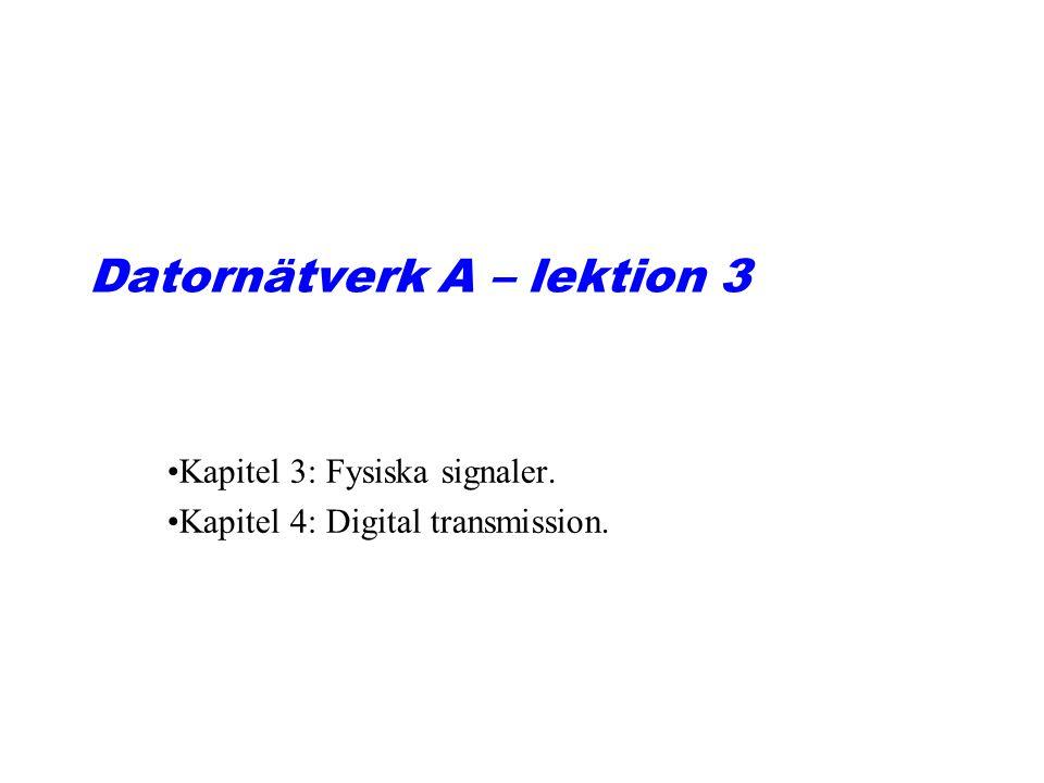 Datornätverk A – lektion 3 Kapitel 3: Fysiska signaler. Kapitel 4: Digital transmission.