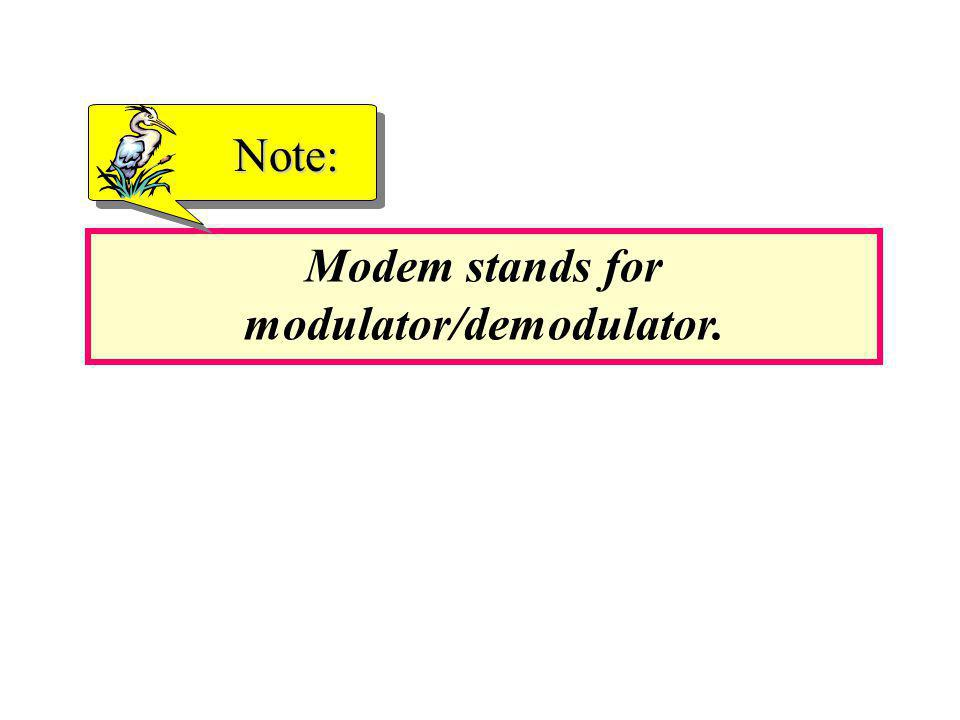 Modem stands for modulator/demodulator. Note: