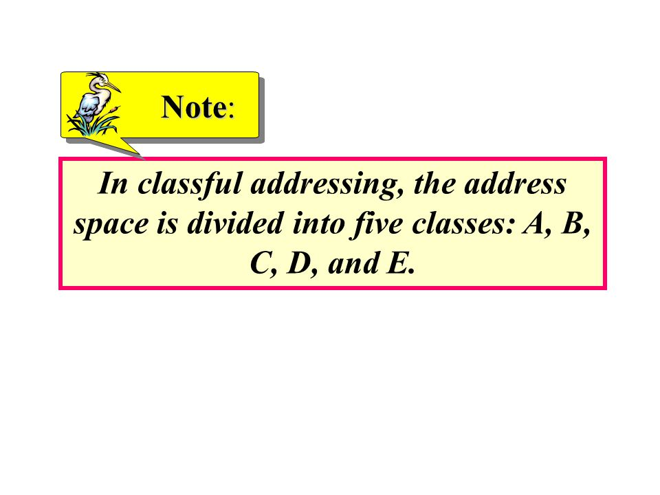 In classful addressing, the address space is divided into five classes: A, B, C, D, and E. Note: