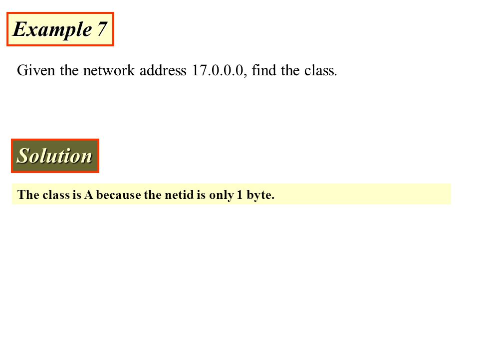 Example 7 Given the network address 17.0.0.0, find the class.