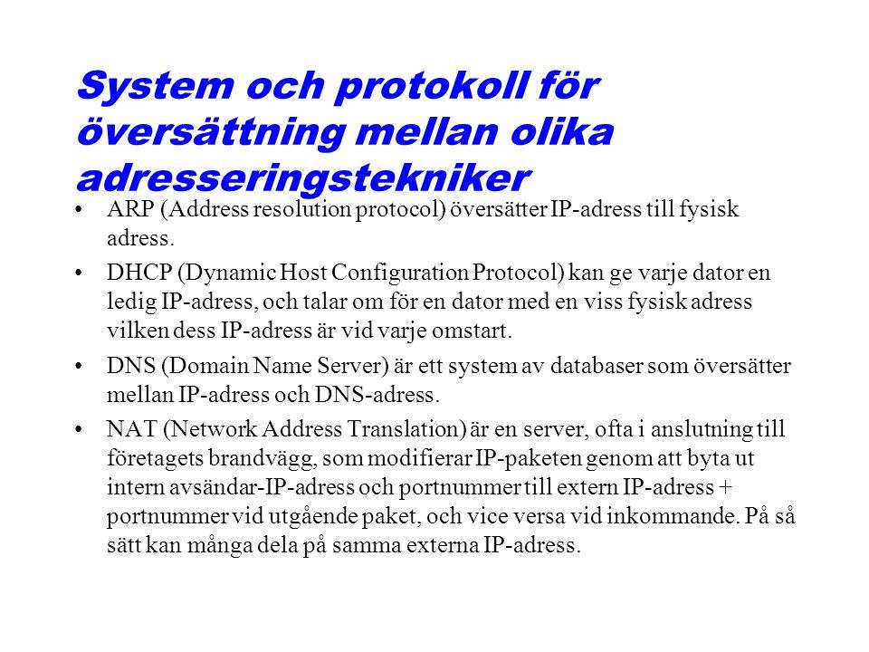 System och protokoll för översättning mellan olika adresseringstekniker ARP (Address resolution protocol) översätter IP-adress till fysisk adress. DHC