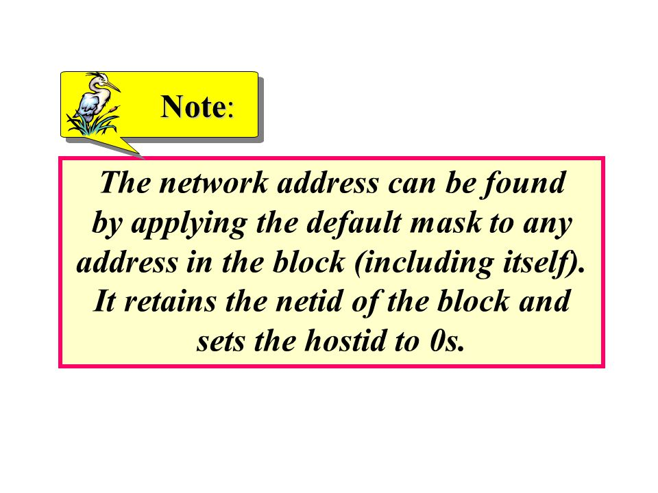 The network address can be found by applying the default mask to any address in the block (including itself).