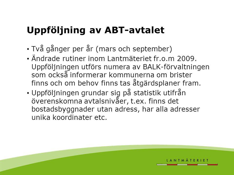 Uppföljning av ABT-avtalet Två gånger per år (mars och september) Ändrade rutiner inom Lantmäteriet fr.o.m 2009. Uppföljningen utförs numera av BALK-f