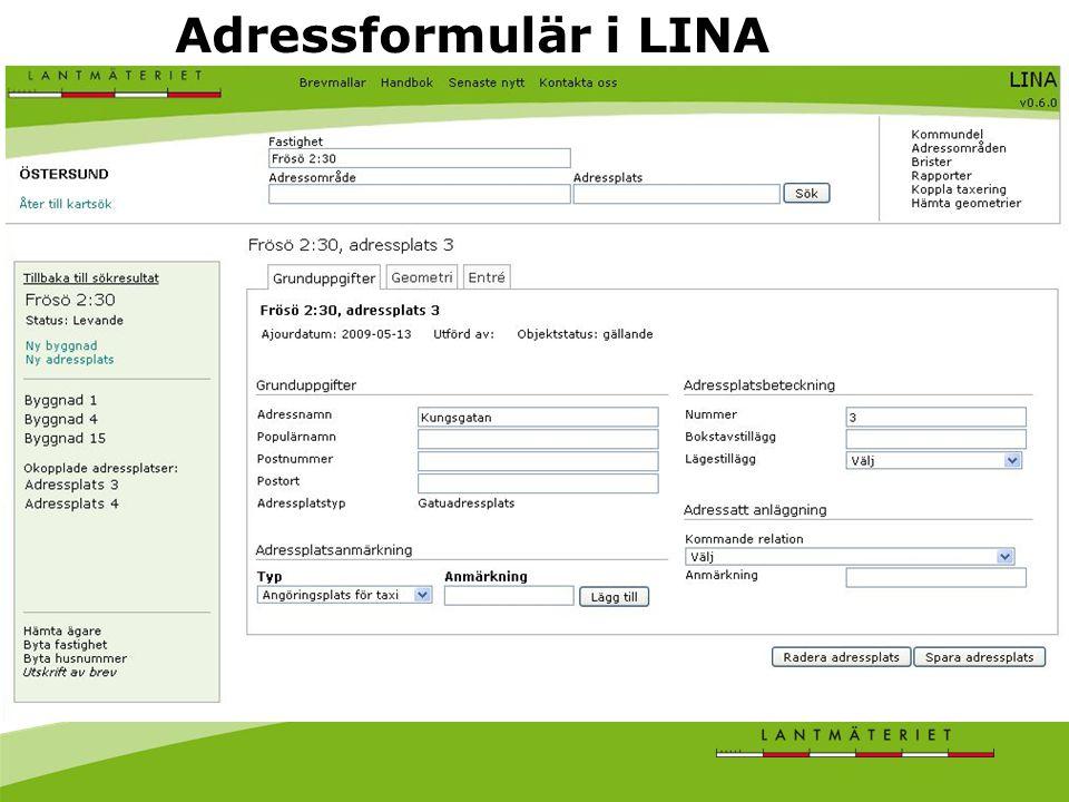 Adressformulär i LINA
