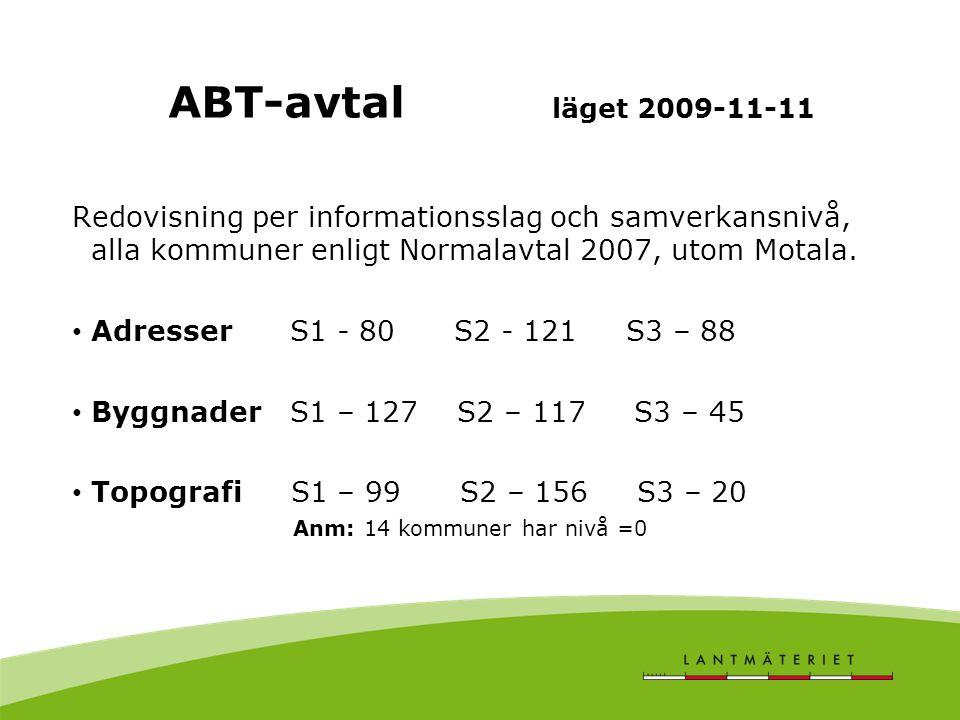 Redovisning per informationsslag och samverkansnivå, alla kommuner enligt Normalavtal 2007, utom Motala. Adresser S1 - 80 S2 - 121 S3 – 88 Byggnader S