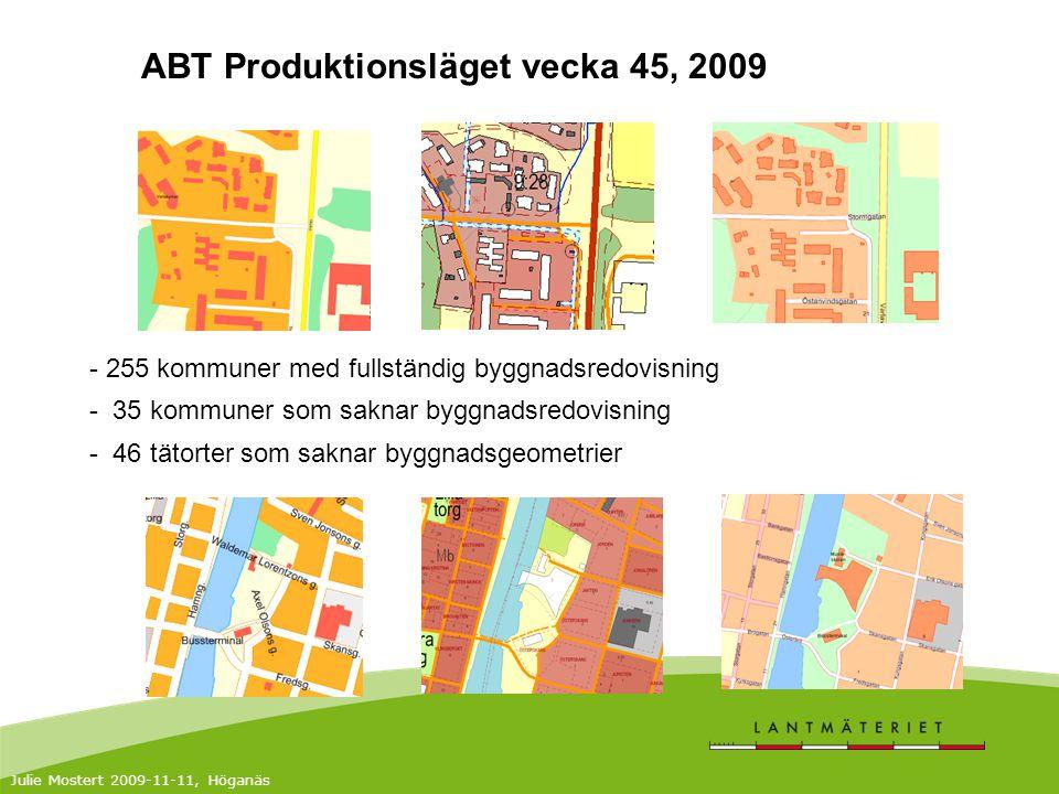 ABT Produktionsläget vecka 45, 2009 - 255 kommuner med fullständig byggnadsredovisning - 35 kommuner som saknar byggnadsredovisning - 46 tätorter som