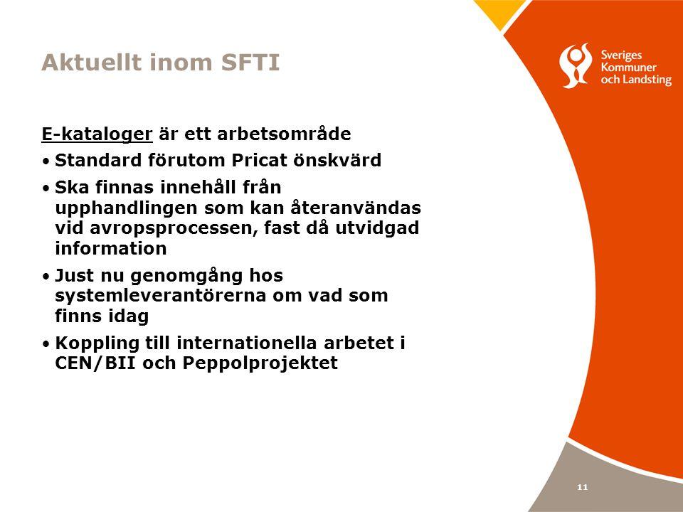 11 Aktuellt inom SFTI E-kataloger är ett arbetsområde Standard förutom Pricat önskvärd Ska finnas innehåll från upphandlingen som kan återanvändas vid avropsprocessen, fast då utvidgad information Just nu genomgång hos systemleverantörerna om vad som finns idag Koppling till internationella arbetet i CEN/BII och Peppolprojektet