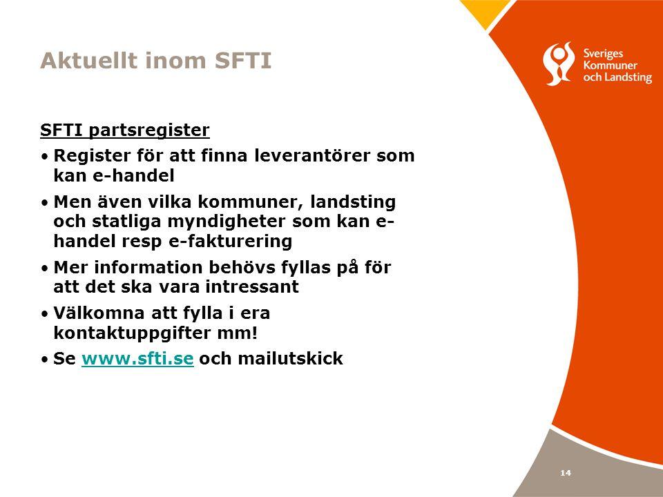 14 Aktuellt inom SFTI SFTI partsregister Register för att finna leverantörer som kan e-handel Men även vilka kommuner, landsting och statliga myndigheter som kan e- handel resp e-fakturering Mer information behövs fyllas på för att det ska vara intressant Välkomna att fylla i era kontaktuppgifter mm.