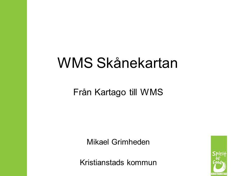 Disposition Projektet WMS Skånekartan Några grundläggande begrepp Jämförelse Kartago - WMS Statusrapport, frågor        