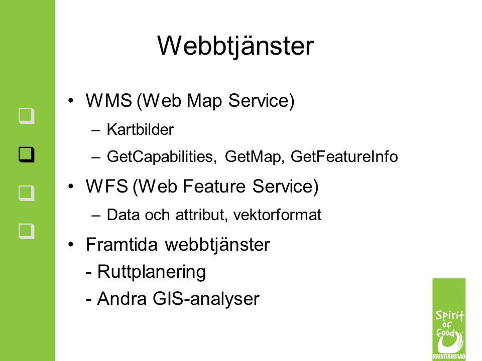 Webbtjänster WMS (Web Map Service) –Kartbilder –GetCapabilities, GetMap, GetFeatureInfo WFS (Web Feature Service) –Data och attribut, vektorformat Fra