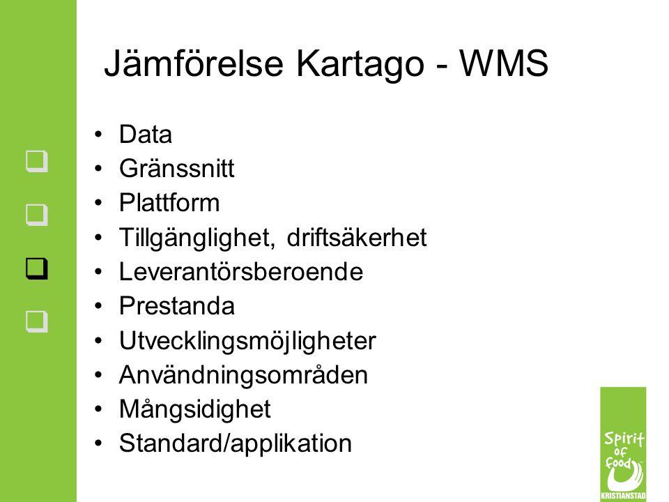 Jämförelse Kartago - WMS Data Gränssnitt Plattform Tillgänglighet, driftsäkerhet Leverantörsberoende Prestanda Utvecklingsmöjligheter Användningsområd
