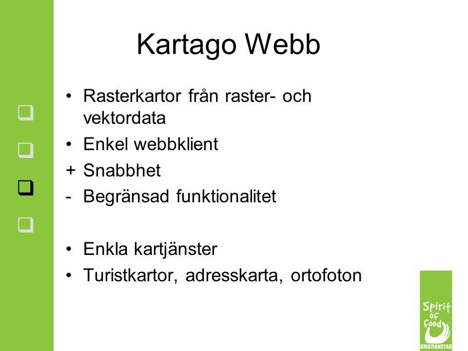Kartago Webb Rasterkartor från raster- och vektordata Enkel webbklient +Snabbhet -Begränsad funktionalitet Enkla kartjänster Turistkartor, adresskarta