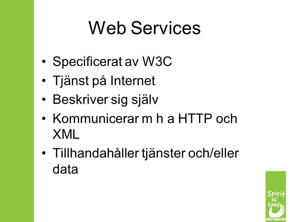 Web Services Specificerat av W3C Tjänst på Internet Beskriver sig själv Kommunicerar m h a HTTP och XML Tillhandahåller tjänster och/eller data