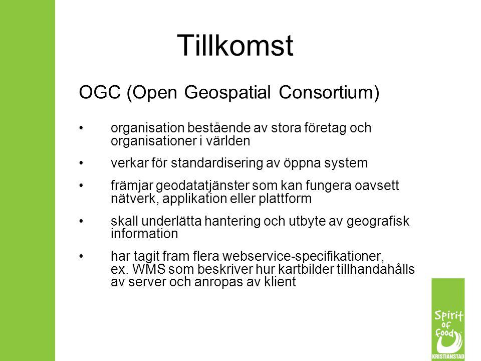 Tillkomst OGC (Open Geospatial Consortium) organisation bestående av stora företag och organisationer i världen verkar för standardisering av öppna sy