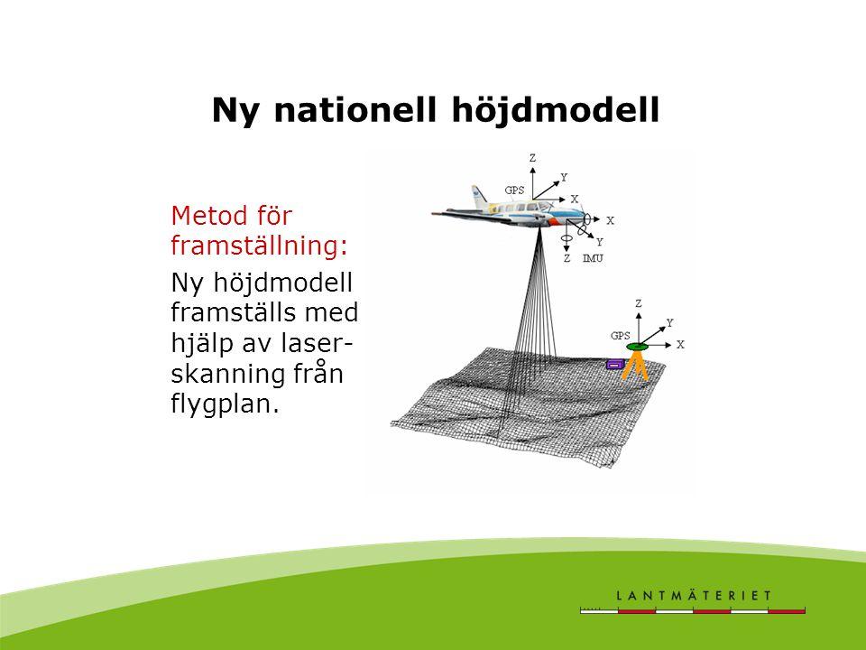 Ny nationell höjdmodell Metod för framställning: Ny höjdmodell framställs med hjälp av laser- skanning från flygplan.