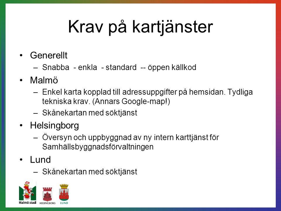 Krav på kartjänster Generellt –Snabba - enkla - standard -- öppen källkod Malmö –Enkel karta kopplad till adressuppgifter på hemsidan. Tydliga teknisk